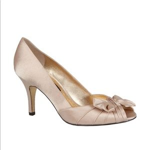 Nina Forbes Gold Royal Satin Peep-Toe Pumps